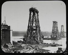 VICTORIAN Glass Magic Lantern Slide THE FORTH BRIDGE CONSTRUCTION NO7 1889 PHOTO