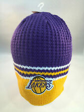 LOS ANGELES LAKERS NBA TEAM COLORS NEW KNIT WINTER BEANIE HAT CUFFLESS BY ADIDAS
