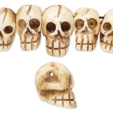 15 Hand Carved Genuine Cow Bone Antiqued Skull Beads In Assorted Sizes Small-Big