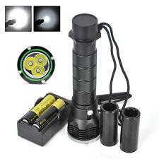 Plongée 9000lm 3xXM-L L2 Diving Lampe de poche Scuba Dive Torch+2x18650+chargeur