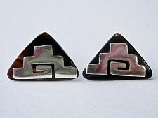 Vintage Tortoiseshell Cuff Links Signed Mexican Silver Mayan Pyramids 1940s