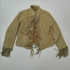 DON'T MESS WITH TEXAS Women's M Suede Fringed Jacket Tan Beige Lined Western