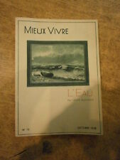 Guilloux L'eau  Mieux vivre 1938 N° 10 Publicité pharmacie Sougez Besson Steiner