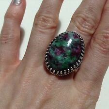 Ruby In Zoisite Ring. Real Rare Semi Precious Stone Ring Silver Plated  Handmade