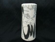 Raku Art Pottery Hand Painted Black & White Vase, Signed K. Thomas