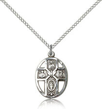 """.925 Sterling Silver Four Way Cross Necklace For Women On 18"""" Chain - 30 Day ..."""