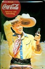 Coca Cola Cowboy embossed Steel Wall Sign (hi 3020)  REDUCED TO CLEAR ++++++++