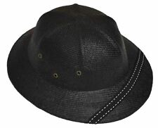 MM Summer 100% Straw Pith Helmet Postman Hat Black