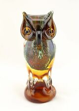 "New 8"" Large Hand Blown Art Glass Bird Owl Figurine Sculpture Statue Amber"