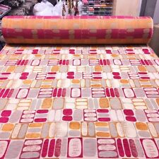 TOP QUALITY RETRO GEOMETRIC GOLD PINK PATTERNED UPHOLSTERY FABRIC MATERIAL SALE!