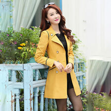 Womens Double Breasted Slim Long Trench Coat Windbreaker Jacket Overcoat Outwear