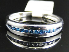 Mens White Gold Finish Blue Diamond Pave 5 MM Wedding Engagement Band Ring