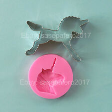 Unicorn Cookie Cutter & Silicone Mold 2 pieces LOT