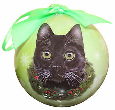 BLACK  CAT CHRISTMAS BALL ORNAMENT HOLIDAY XMAS PET LOVERS GIFT