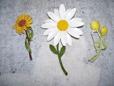 3 vintage enamel flower pins brooches daisy sunflower tulip costume jewelry