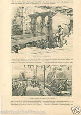 Atelier Usine Scie Vertical Circulaire Menuiserie Ebenisterie GRAVURE PRINT 1859