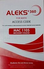 Aleks 360 For Math Student Access Code for MAC1105 Broward College