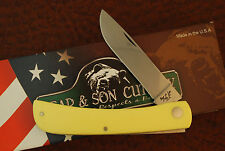 BEAR & SONS USA CARBON STEEL YELLOW COMPOSITION JUMBO SODBUSTER KNIFE (SM288)