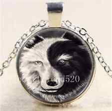 Ying And Yang Wolf Cabochon Glass Tibet Silver Chain Pendant  Necklace