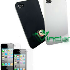 2X Pellicola+ 2X Custodia per Apple iPhone 4 4G back cover rigida BIANCA NERA