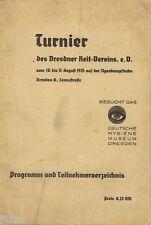 Turnier des Dresdner Reit Vereins 1935   Programm & Teilnehmer Reiten Pferde