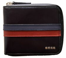 TOD'S Black Leather Zip-around Wallet with Stripes ITALY $475