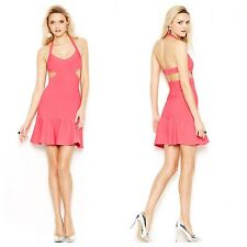 GUESS NWT SEXY HOT PINK Mirage Bandage Flare Cutout Bodycon Cocktail Dress SZ M