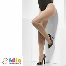 NUDE FISHNET TIGHTS ONE SIZE ladies womens fancy dress accessory