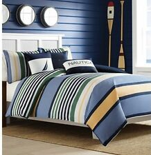 Nautica Dover King Duvet Set 3 Pcs. Blue Stripes NEW