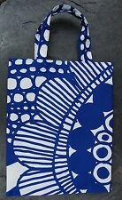 Handmade Siirtolapuutarha small tote bag purse Marimekko fabric Finland blue