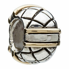 AUTHENTIC CHAMILIA RETIRED SILVER 14K GOLD LINES BEAD CHARM KB-57 NEW