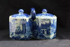 FLOW BLUE LARGE PRESERVE/ SUGAR POTS WITH HANDLE & LIDS VICTORIA WARE