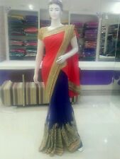 Bollywood indian pakistani wedding party wear saree, two tons colour.