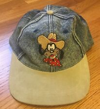 VTG 90s DISNEY GOOFY Denim Leather Suede Dad Hat Snapback ACID WASH Mickey Mouse