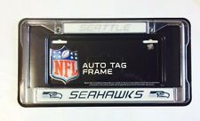 Seattle Seahawks Chrome Metal License Plate Frame - Auto Tag Holder - NEW