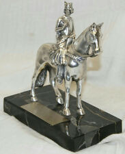 "6.5"" VINTAGE 1ST BN 75TH FA CRUSADERS MILITARY PEWTER WOMAN ON HORSE TROPHY"