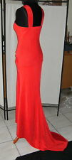 Abend Kleid Rot Lang mit Schleppe Stretch 'Lady in Red' Gr 38 - 40 * Kollier *