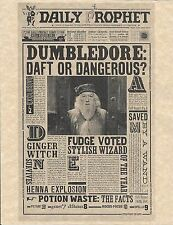 Harry Potter The Daily Prophet Dumbledore Daft Or Dangerous Flyer/Poster Replica
