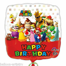 "18"" Super Mario Bros Wii Children's Happy Birthday Party Square Foil Balloon"