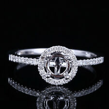 5mm Round Diamond Setting Fancy Engagement Semi Mount Ring Solid 10K White Gold