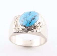Vintage Mexican Sterling Silver Turquoise Ring (Size 12) Taxco Craftsmanship