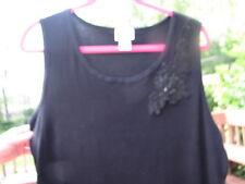 FASHION BUG LADIES BLACK EMBELLISHED SCOOP NECK  SLEEVELESS TOP` SIZE  18-20