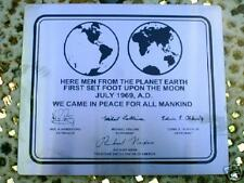 APOLLO 11 NASA LUNAR LANDING PLAQUE - Stainless steel 0.8mm thick material