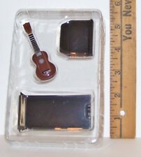 MINIATURE FASHION DOLL UKE UKULELE INSTRUMENT W STAND 2 & 3/4 INCHES NEW RETIRED
