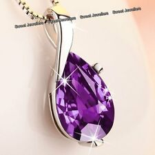 BLACK FRIDAY DEALS - Silver & Purple Crystal Diamond Necklace Xmas Gifts For Her