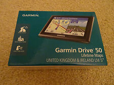 "Garmin Drive 50 LM 5"" Sat Nav GPS UK ROI Ireland Lifetime Maps - Brand New"