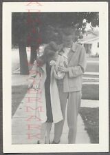 Unusual Vintage Photo Man & Camera Shy Girl w/ Pretty Hair 756151