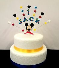 Personalised Mickey mouse birthday, christening cake topper, any name and age