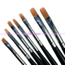 7Pcs Acrylic UV Gel Nail Art Tips Builder Drawing Brushes Pen Kit Design French