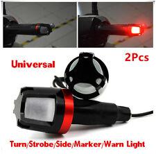 2Pcs Motorcycle Handlebar Turn Signal Grip Bar End LED Strobe Side Marker Lights